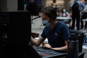 Greg Simpson, sound engineer, works to setup the audio during the 2021 Annual Council in Silver Spring, Maryland, United States of America. (Photo: Brent Hardinge  / ANN)