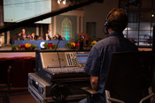 A sound engineer running audio for the onsite attendees during the 2021 Annual Council in Silver Spring, Maryland, United States of America. (Photo: Brent Hardinge  / ANN)