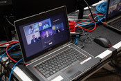 Computers used to feed audio into the language-specific Zoom meetings during the 2021 Annual Council in Silver Spring, Maryland, United States of America. (Photo: Brent Hardinge  / ANN)