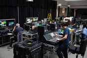Engineers working to ensure the Zoom meetings and livestreams work well during the 2021 Annual Council in Silver Spring, Maryland, United States of America. (Photo: Brent Hardinge  / ANN)