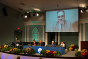 Erton Carlos Köhler, Executive Secretary, General Conference (GC), welcomes new members to the GC Executive Committee at the 2021 Annual Council in Silver Spring, Maryland, United States of America.